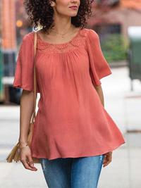 Motherhood Maternity DUSTY-PINK Crochet Trim Half Sleeve Top - Size Small to XLarge