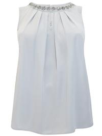 3vans GREY Sleeveless Jewel Embellished Chiffon Top - Plus Size 16 to 30