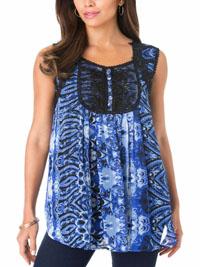 Roamans Denim 24/7 BLUE-BLACK Angel Sleeveless Chiffon Top - Plus Size 14 to 34 (US 12W to 32W)