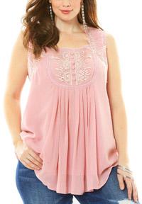 Roamans Denim 24/7 PINK Angel Sleeveless Chiffon Top - Plus Size 20 to 22 (US 18W to 20W)