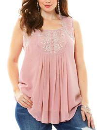 Roamans Denim 24/7 PINK Angel Sleeveless Chiffon Top - Plus Size 14 to 34 (US 12W to 32W)