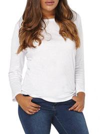 3vans WHITE Pure Cotton Long Sleeve T-Shirt - Plus Size 14 to 30/32