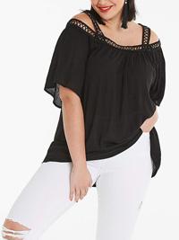 Capsule BLACK Crochet Trim Cold Shoulder Top - Size 10 to 28