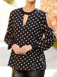 Johana Hope BLACK SPOTTED Cold Shoulder Keyhole A-line Blouse - Size 10 to 26