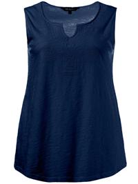 Ulla Popk3n STORM-BLUE Sleeveless Notch Neck Cotton Knit Vest Top - Plus Size 16/18 to 36/38