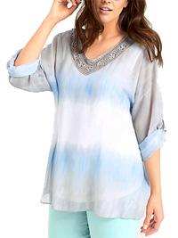 Linea Tesini MULTI Tie Dye Roll Sleeve Batik Tunic - Size 8 to 26