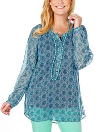 Sheego GREEN Paisley Print Long Sleeve Chiffon Shirt - Plus Size 14 to 32
