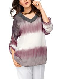 Linea Tesini GREY Tie Dye Roll Sleeve Batik Tunic - Size 8 to 26 (EU 34 to 52)