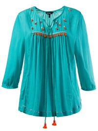 Ulla Popk3n EMERALD 3/4 Sleeve Crinkle Tassel Blouse - Plus Size 16/18 to 36/38