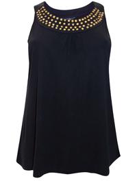 Flirtz BLACK Sleeveless Studded Vest Top - Plus Size 16 to 30/32