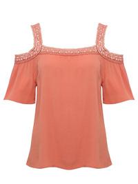 M&Co APRICOT Petite Cold Shoulder Crinkle Top - Plus Size 16