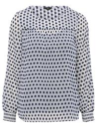 M&Co BLUE Printed Long Sleeve Chiffon Top - Size 8