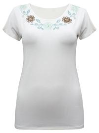 Stella Kiran NATURAL Embroidered Trim Jersey T-Shirt - Plus Size 12 to 18 (EU 40 to 46)