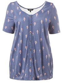 Ulla Popk3n SMOKE-BLUE Bird Print Crochet Trim Jersey Top - Plus Size 24/26 to 28/30