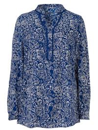 Slimma NAVY Nehru Collar Printed Blouse - Plus Size 16 to 26