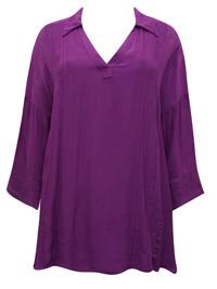 Soft Surroundings PURPLE Capistrano Crochet Lace Pintuck Blouse - Size 4/6 to 20 (XSmall to XLarge )