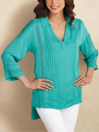 Soft Surroundings AQUA Capistrano Crochet Lace Pintuck Top & Cami - Size 4/6 to 24 (XSmall to 2X)