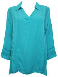 Soft Surroundings AQUA Capistrano Crochet Lace Pintuck Blouse - Size 4/6 to 20/22 (XSmall to 1X)