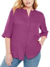 Woman Within PURPLE Button Down Mandarin Tunic Shirt - Plus Size 18/20 to 34/36 (Medium to 3X)
