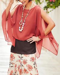 Joanna Hope SPICE Floaty Split Sleeve KAFTAN Blouse - Plus Size 16 to 32