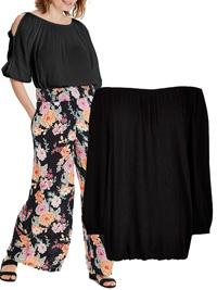 Capsule BLACK Split Sleeve Crinkle Bardot Blouse - Plus Size 12 to 32