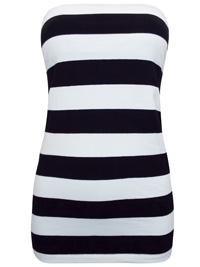 Basic U BLACK/WHITE Secret Support Striped Bandeau Top - Size 14/16 (Medium)