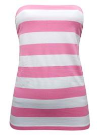 Basic U PINK/WHITE Secret Support Striped Bandeau Top - Size 14/16 (Medium)