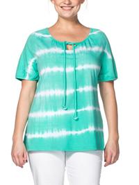 Sheego GREEN Pure Cotton Tie Dye Tie Neck Top - Plus Size 14/16 to 30/32 (EU 40/42 to 56/58)