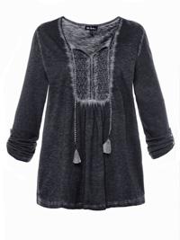 Ulla Popk3n BLACK Tassel Tie Lace Insert Cold Dye Top - Plus Size 16/18