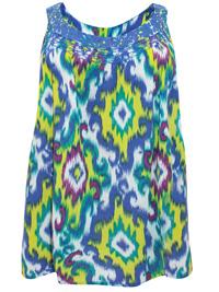 Avenue BLUE-MULTI Pure Cotton Lace Trim Printed Top - Plus Size 16/18 to 32/34