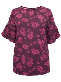 Ellos BERRY Rib Textured Cold Shoulder Top - Size 8/10 (EU 34/36)