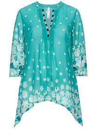 Sheego Sea Green Gemstones Trim Floral Print Tunic - Plus Size 18 to 32