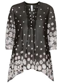 Sheego BLACK Gemstones Trim Floral Print Tunic - Plus Size 18 to 26