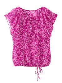 Blancheporte FUCHSIA Print Flounce Sleeve Tie Hem Blouson Top - Plus Size 14 to 26