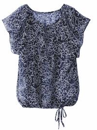 Blancheporte NAVY Printed Flounce Sleeve Tie Hem Blouson Top - Size 10 to 28 (EU 36 to 54)