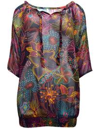 Blancheporte BLACK Floral Print Cold Shoulder Semi Sheer Top - Plus Size 14 to 26 (EU 40 to 52)