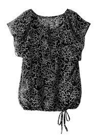 Blancheporte BLACK Floral Print Flounce Sleeve Tie Hem Blouson Top - Plus Size 14 to 26 (EU 40 to 52)