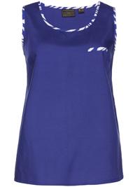BPC BLUE Sleeveless Printed Trim Vest Top - Size 10 to 28 (EU 36 to 54)