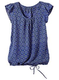 Blancheporte MARINE Kaleidoscope Print Flounce Short Sleeve Blouse - Plus Size 18 to 20 (EU 46 to 48)
