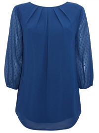 Blancheporte PETROL Pleat Neck 3/4 Sleeve Blouse - Plus Size 14 to 26 (EU 40 to 52)