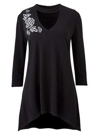 Joanna Hope BLACK Appliqué Trim Tunic - Size 10 to 32