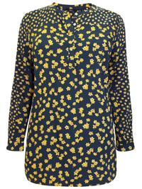 BPC NAVY Floral Print Long Sleeve Shirt - Plus Size 20 to 24 (EU 46 to 50)