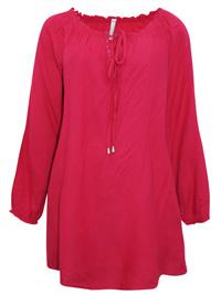 Blancheporte CERISE Tie Neck Gypsy Top - Plus Size 16 to 28 (EU 42 to 54)