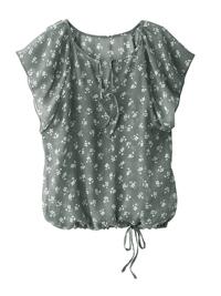 Blancheporte KHAKI Floral Print Flounce Sleeve Tie Hem Blouson Top - Plus Size 14 to 28 (EU 40 to 54)