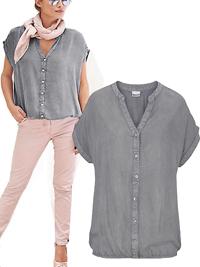 Tamaris GREY Short Sleeve Bubble Hem Top - Size 8 to 22 (EU 34 to 48)