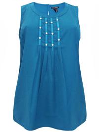 Sara Lindholm TEAL Sleeveless Stud Embellished Top - Plus Size 14 to 24 (EU 46 to 56)