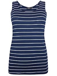Zuri NAVY Striped Jersey Vest Top - Size 10 to 16