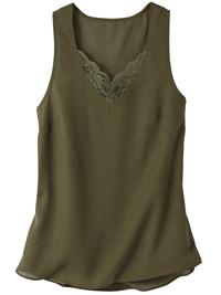 Blancheporte KHAKI Lace Trim Cami Top - Plus Size 14 to 18 (EU 40 to 44)