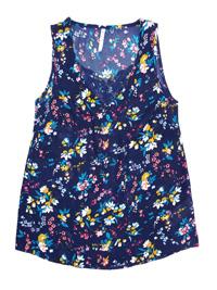 Blancheporte INDIGO Floral Print Lace Trim Cami Top - Plus Size 12 to 28 (EU 38 to 54)