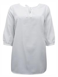 Blancheporte WHITE Tie Neck Woven 3/4 Sleeve Top - Size 10 to 22 (EU 36 to 48)